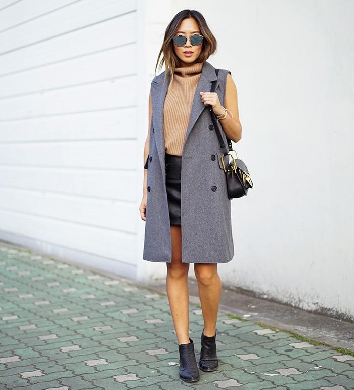 aimee_song_of_style_grey_sleeveless_coat_turtleneck_sweater_leather_skirt