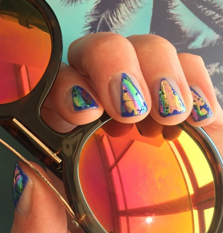 spring nail inspiration from pink neon lips